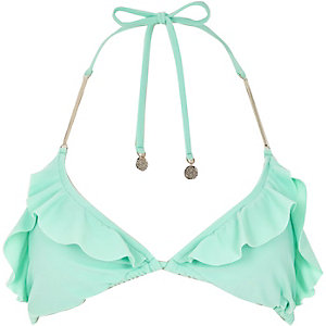 Light green frilly triangle bikini top