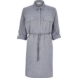 Blue organic shirt dress