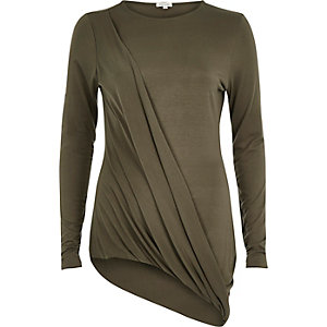 Khaki draped asymmetric top