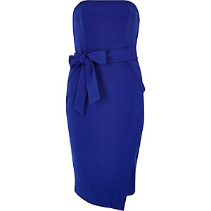Bright blue bandeau bodycon dress