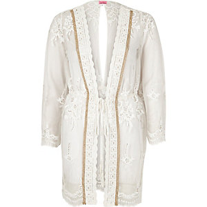 White embellished lace cover-up caftan