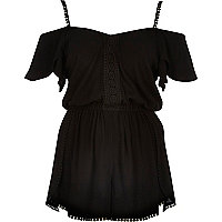 Black crepe bardot cover-up playsuit