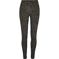Black marl zip back leggings