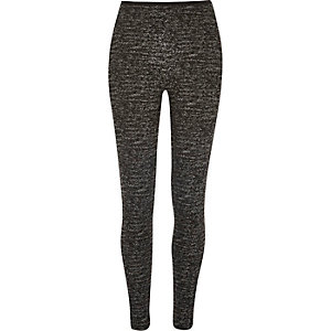 Black marl zip back leggings