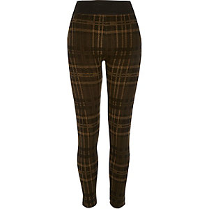 Khaki checked high waisted leggings