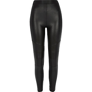 Black leather-look biker leggings