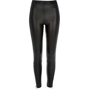 Black coated zip ankle leggings