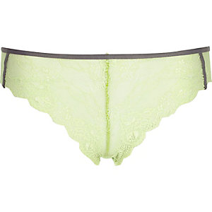 Green lace piped knickers