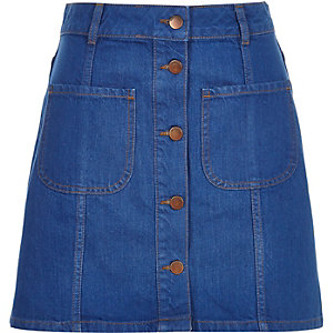 Denim button-up A-line skirt