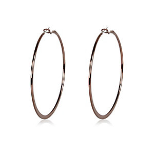 Dark brown flat hoop earrings