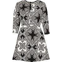Black print tie neck A-line dress