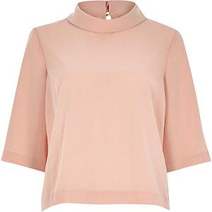 Peach pink high neck t-shirt