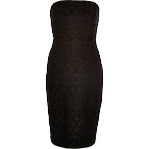 Black bandeau lace bodycon dress
