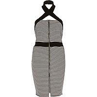 Black stripe wrap neck bodycon dress