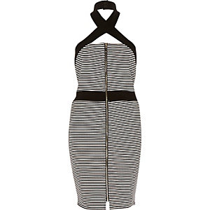 Black stripe wrap neck bodycon dress