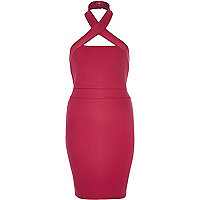 Pink ribbed halter neck bodycon dress