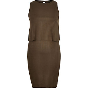 Khaki ribbed layered sleeveless dress