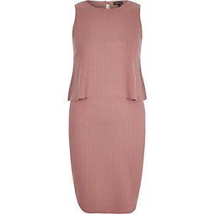 Pink ribbed double layer sleeveless dress