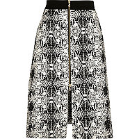 Black snake print contrast waist midi skirt