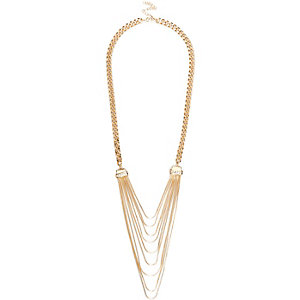 Gold tone snake chain necklace