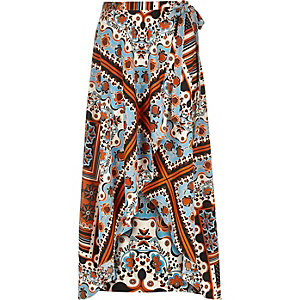 Orange print wrap maxi skirt