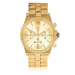 Gold tone branded dial watch