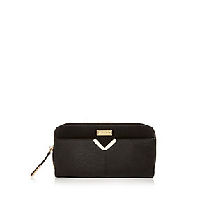 Black V-bar zip around purse