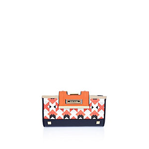 Orange geometric print flapover purse
