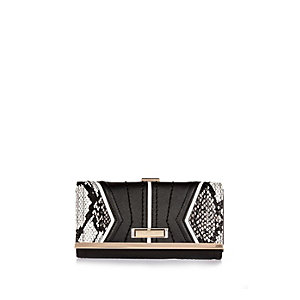 Black snake print flapover purse