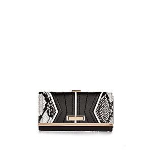 Black snake print flapover purse