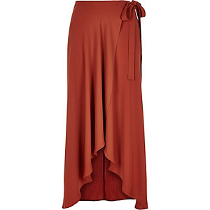 Rust brown wrap maxi skirt
