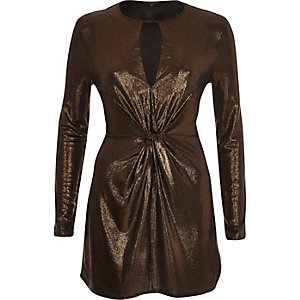 Gold metallic knot front bodycon top