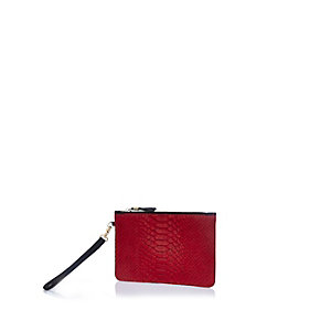 Red leather snake print purse