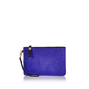 Purple snake print leather purse