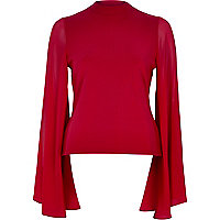 Red flared sleeve top