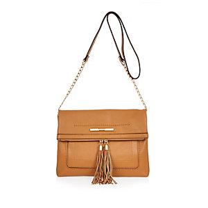 Brown foldover tassel cross-body handbag