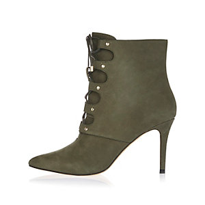 Khaki leather lace-up pointed heeled boots