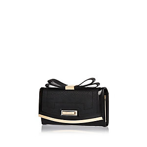 Black bow top purse