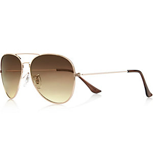 Gold tone brow bar aviator sunglasses