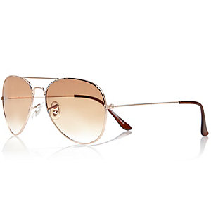 Gold tone aviator-style sunglasses