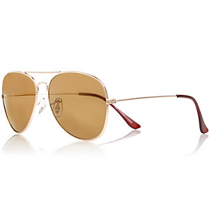 Gold tone brow bar aviator-style sunglasses