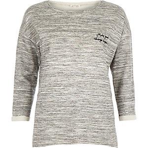 Grey marl slogan print top