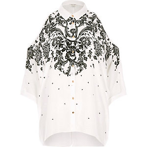 White print cold shoulder shirt