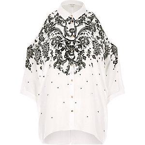 White print cold shoulder shirt