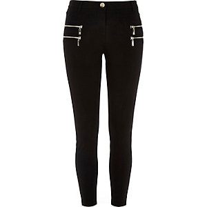 Black jersey double zip superskinny trousers