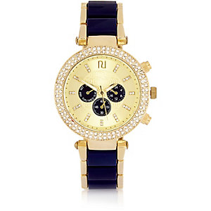 Navy glamorous diamante case watch