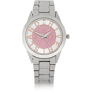 Silver tone pink glittery face watch