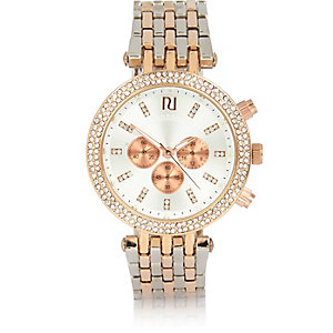 Gold and silver tone embellished watch