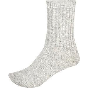 Grey ribbed ankle socks