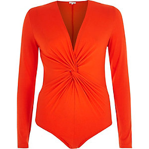 Red knot front bodysuit